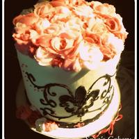Vintage Double Barrel Ganache Cake With Peppermint Butter Cream Roses Amp Stenciled Fleur De Lis On The Front Vintage Double barrel ganache Cake with peppermint Butter cream Roses & Stenciled Fleur De Lis on the front