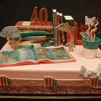 Cake Made For The 40Th Anniversary Of A Library All The Elements Are Edible Made With Pastillage Paste Gumpaste And Rice Paper Designs Cake made for the 40th Anniversary of a Library. All the elements are edible, made with pastillage paste, gumpaste and rice paper designs...