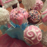 Birthday Cake Pops Pink and White Cake Pops