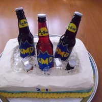 Beer Cooler Graduation Cake cmpletely edible! sugar beer bottles, isomalt ice, hand painted edible paper for labels