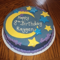 Moon & Stars Birthday Cake   Chocolate cake with peanut butter filling and buttercream frostin