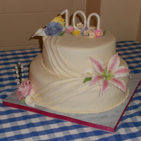 "I Had The Honour Of Making My Great Aunts 100Th Birthday Cake First Time Trying The Swagdraping Effect Gumpaste Flowers I had the honour of making my great aunts 100th birthday cake!! First time trying the ""swag""/draping effect. Gumpaste flowers."