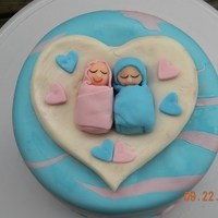 Twin Babies Cake First time making MMF (always used Fondarific before). It was really hard to work with. Kept tearing and just wouldn't smooth.
