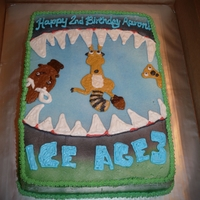 Ice Age all buttercream, free hand drawn and airbrush