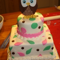 First Birthday Owl Cake Pink, green, and brown themed owl cake for a little girls first birthday