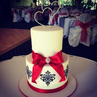 Black And White Damask Wedding Cake With Diamante Heart Topper Black and white Damask wedding cake with diamanté heart topper