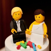 Lego Bride And Groom Cake Topper Hand made fondant lego themed bride and groom wedding cake topper