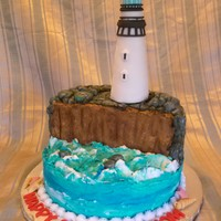 Lighthouse Birthday Cake All Butter Cream Except The Lighthouse Which Is Rkt Covered In Fondant Lighthouse birthday cake all butter cream, except the lighthouse which is RKT covered in fondant