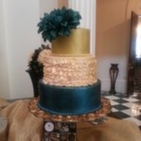Fondant Cake In Metals For A Bridal Show The Top Tier Was Airbrushed Gold Middle Tier Was Ruffled Fondant Bottom Tier Was Also Airbrush  Fondant cake in metals for a bridal show. The top tier was airbrushed gold. Middle tier was ruffled fondant. Bottom tier was also...