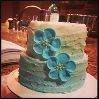 Blue Ombre Textured Buttercream Mini Cake   Blue Ombre Textured Buttercream Mini Cake.