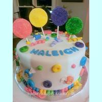 "Candy Themed Cake Photo is not great but this is a fondant cake covered in fondant ""candy"" and ""lollipops"" embellished with sanding sugar..."