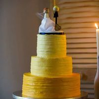 Yellow Ombre Wedding Cake 3-tier round wedding cake in textured buttercream and ombre effect. TFL