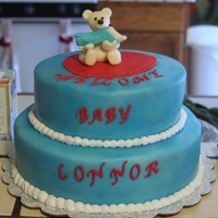 Welcome Baby Conor  The cake was a Harvey Wallbanger with Orange Cream Cheese Icing.The mommy bear and baby bear was made out of molding chocolate.This cake is...