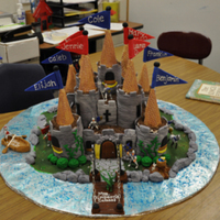 The Castle Cake This cake was for my son's 1st grade class during Fairy Tale week. The teachers asked for a castle cake, and this is what they got....