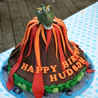 T-Rex And Volcano Birthday Cake