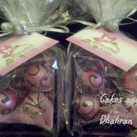 Pink With Silver Scrollwork pink cake balls with silver scrollwork