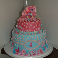 My Little Pony Cake 2-tier My Little Pony Cake. Rainbow cake inside. All edible except for pony figurine on top!