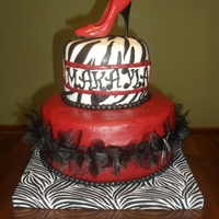 Zebra Print Cake Red, black and white, zebra print cake