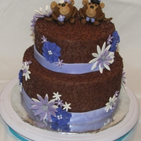 Purple Daisy Monkeys Bridal Shower Cake Chocolate buttercream with gumpaste decoration (Bride had monkey theme in her invitations