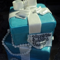 "Chesneys 13Th Birthday ""Breakfast at Tiffany's"" theme. Chocolate cake with vanilla buttercream tinted that ""special"" blue color."