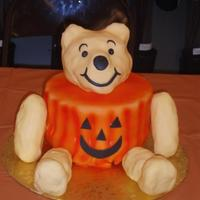 Bear Halloween Pumpkin spice cake for the jack-o-latern and crispy treats for the head, arms and legs. I placed 3rd in a local cake competition for Disney...