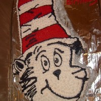 "Cat In The Hat This was for a friend's son's 1st birthday it is just carved out of one 8"" round cake and then a 1/4 sheet pan for the hat I..."
