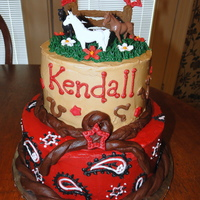 "Cowgirl Cake  I had a little girl who provided some horses to me and asked that they be put on top of a ""non-girly cowgirl"" cake. This is what..."