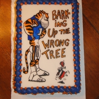Auburn Vs. Georgia   Hand sketched onto fondant from a tshirt graphic.