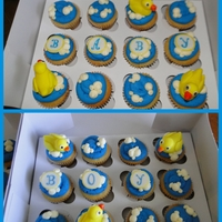 Duck Baby Shower Cupcakes Received an order for 4 dozen cupcakes for a boy baby shower and they didn't have anything specific in mind for a theme. This is what...