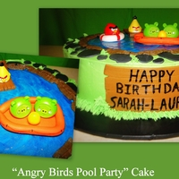 Angry Birds Pool Party Cake  I received a request for a cake with an Angry Birds theme which was also a pool party. This is what I came up with. Used the birds/pigs...