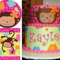Monkey Love Cake  This is a cake I made from scratch and covered with homemade swiss buttercream & fondant accents. It was made to match the Monkey Love...