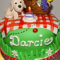 Puppy Picnic  I had a friend request a cake with matching cupcakes for a picnic themed 4th birthday party for her little girl. She also wanted to find a...