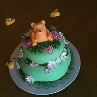 Baby Shower Bear Cake 1st baby shower cake! Vanilla bean cake with vanilla buttercream covered in fondant. The flowers are all fondant and the bees/bear are...