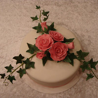 My First Cake With A Spray Of Sugar Flowers