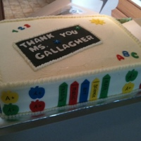 Thanks Teacher Cake iced in bc, fondant decor