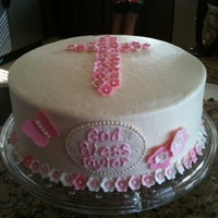 Girl Baptism Cake pink and white baptism cake.... iced w/ bc and decor is mmf :-)