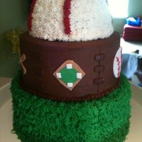 Baseball Cake iced with bc, fondant decor accents