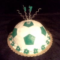 Soccer Ball This cake is a Butter cake with Chocolate frosting and is decorated with fondant.