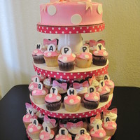 Minnie Mouse Cupcake Tower I did this one for a girls birthday .