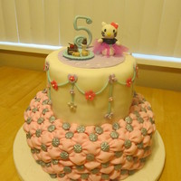 Hello Kitty 5Th Birthday Cake I made this cake for my daughters 5th birthday. She LOVES Hello Kitty. All of the toppers are hand made. I made the tutu on Hello Kitty to...