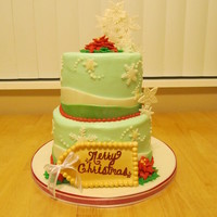 Merry Christmas Cake I made this cake for some members in the family and their Christmas day get together! Caramel pecan cake with a chocolate bavarian cream...