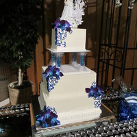 3 Tier Blue And White Square Wedding Cake Groom picked the topper, this is my first official wedding cake. It is white cake with a cherry cream filling and a cream cheese frosting,...