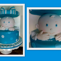 Baby Cake Base and the carved baby head are white mudcake, lid is dummy.