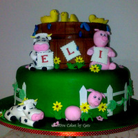 Farm Animal Themed Birthday Cake   2 tier cake were airbrushed featuring handcrafted farm animals. Design supplied by the customer.