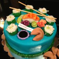 "Sushi Cake 8 inch round covered in smoothed buttercream. I used coconut as the ""rice""."