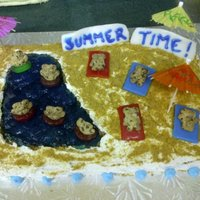 Summer Time Marble cake, buttercream icing, blue raspberry jello (for the water), graham cracker crumbs (for the sand), teddy grahams, air heads &...