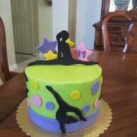 Gymnastics Cake Cake for a 11 yr old who is in gymnastics. Fun to do!