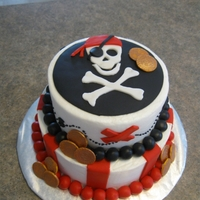 Pirate Cake Buttecream with fondant decorations. Thank you for the inspiration on this site where I got the idea to do this cake.