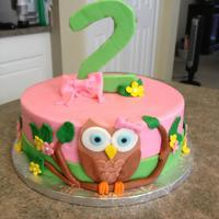 Owl Cake In Buttercream With Fondant Decorations   *Owl Cake in buttercream with fondant decorations.
