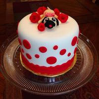 Pug Dog Birthday Cake  Spanish yellow cake recipe, cherry preserves filling, NEW Wilton Preferred fondant cake. I had so much fun making this little pug! It was...